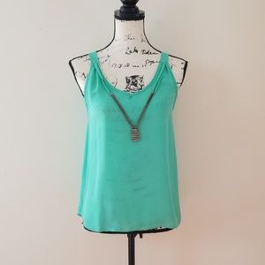 Love J Mint Green strappy loose bejeweled top